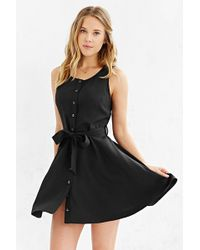 Cooperative Button-front Tied Waist Dress - Black