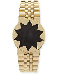 House of Harlow 1960 | Golden Leather-inset Sunburst Watch Bracelet | Lyst