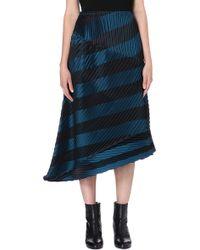 Issey Miyake Striped Pleat Detail Midi Skirt Blue Hued - Lyst