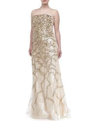 Carolina Herrera Strapless Allover Beaded Sequin Gown - Lyst