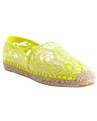 Rebecca Minkoff Yellow Embroidered Textile Jute Detail Genny Flats - Lyst
