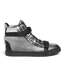Giuseppe Zanotti London Metallic Leather High-Top Sneakers - Lyst