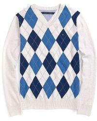 Tommy Hilfiger V Neck Argyle Sweater - Lyst