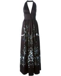 Roberto Cavalli Flower Print Evening Gown - Lyst