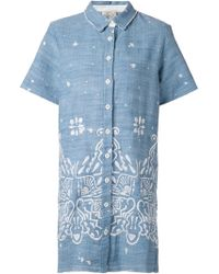 Sea Embroidered Shirt Dress - Lyst