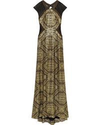 Badgley Mischka Mesh-Paneled Sequined Gown - Lyst