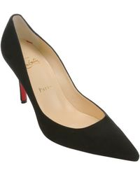 Christian Louboutin Black Suede Apostrophy 85 Stiletto Pumps - Lyst