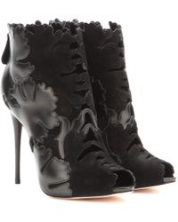 Alexander McQueen Suede And Leather Peep-Toe Ankle Boots black - Lyst