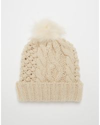 Asos Cable Beanie with Faux Fur Pom - Lyst