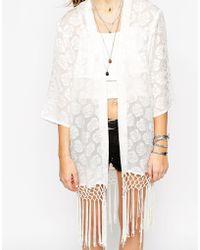 First & I 70's Fringe Detail Kimono - Natural