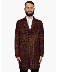 Paul Smith Mens Burgundy Rug Pattern Crombie Coat - Lyst