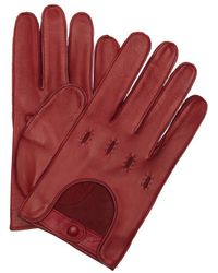 Portolano | Burgundy Leather Snap Close Driving Gloves | Lyst