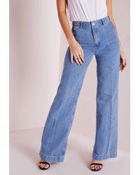 Missguided Wide Leg Jeans Stonewash Blue