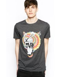 RVCA Tshirt with Tiger Diamond By Kelsey Brookes Print - Black