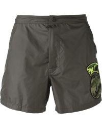 Valentino Green Patchwork Shorts - Lyst