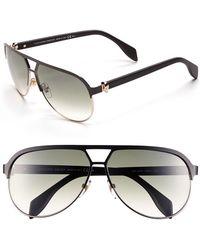 Alexander McQueen Women'S 62Mm Aviator Sunglasses - Matte Black/ Gold - Lyst