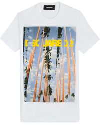 DSquared² Printed Cotton T-Shirt - Lyst