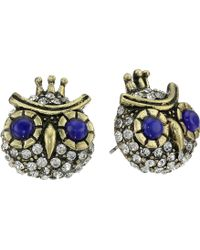 Betsey Johnson Woodland Blue Owl Stud Earrings - Lyst