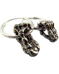 Momocreatura Silver Skeleton Hands Hoop Earrings - Lyst