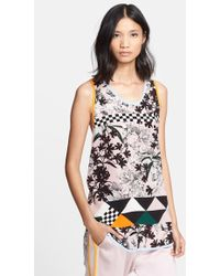 MSGM Abstract Print Silk Scoop Neck Tank - Lyst