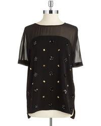 DKNY Embellished Sheer Yoke Blouse - Lyst