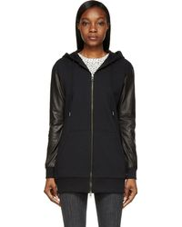 Diesel Black Leather and Jersey G_alia Hoodie - Lyst