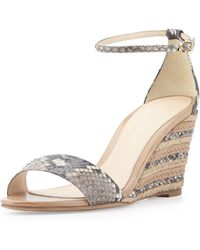 Alexandre Birman Python and Leather Wedges - Lyst