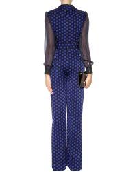 Diane von Furstenberg Cathy Printed Silk Jumpsuit - Blue
