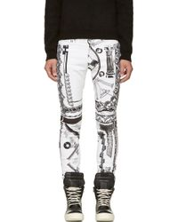 Versus  White and Black Mixed Print Pantalone Jeans - Lyst