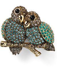 Carolee Lovebirds Pin - Green