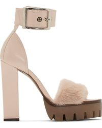 Alexander McQueen Powder Pink Leather and Fur New 39s Sandal - Lyst
