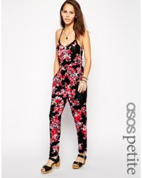 Asos Exclusive Jumpsuit in Dark Floral Print with Cami Straps - Lyst