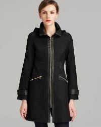 Via Spiga - Rain Coat - Hooded Soft Shell With Faux Leather - Lyst