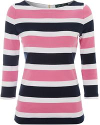 Lauren by Ralph Lauren 34 Sleeve Stripe Top - Lyst