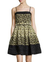RED Valentino Flocked Taffeta Fit and flare Dress - Lyst
