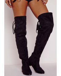 Missguided Flat Knee High Tassel Back Boots Black