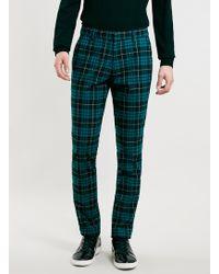 Vito - Blue Tartan Trousers - Lyst