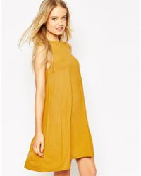 Asos Sleeveless Swing Dress yellow - Lyst