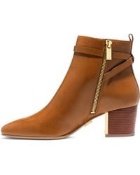 Michael Kors Yves Logo Plaque Leather Ankle Boot - Lyst