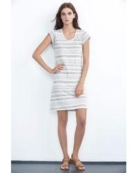 Velvet By Graham & Spencer Vika Heather Stripe Linen Tee Dress - Lyst