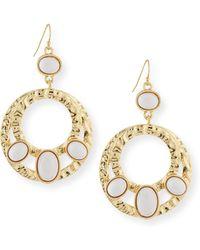 R.j. Graziano Cabochon Double Hoop Earrings - Metallic