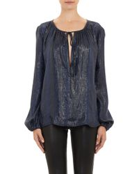 L'Agence Python-embossed Peasant Blouse - Lyst