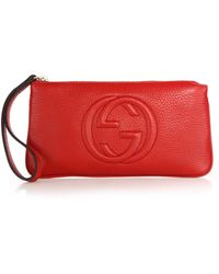 Gucci Soho Leather Wrist Wallet red - Lyst