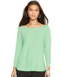 Lauren by Ralph Lauren Cable-Knit Boatneck Sweater - Lyst