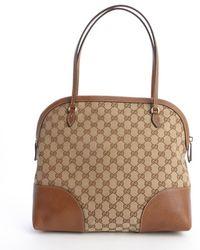 Gucci Brown Gg Canvas 'Bree' Medium Shoulder Bag - Lyst