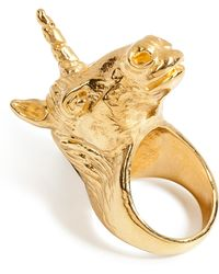 Leivan Kash - Goldplated Unicorn Ring - Lyst