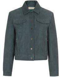 Paul Smith Steel Blue Leather Jacket
