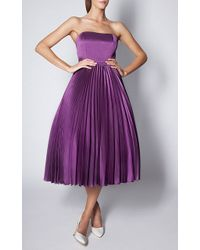 Esme Vie Lilac Washed Satin Plisse Soleil Maxi Skirt - Lyst