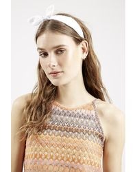 Topshop Embroidered Headband white - Lyst