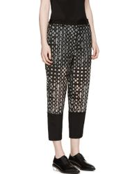 3.1 Phillip Lim Grey Organza And Silk Caning Embroidered Trousers - Lyst